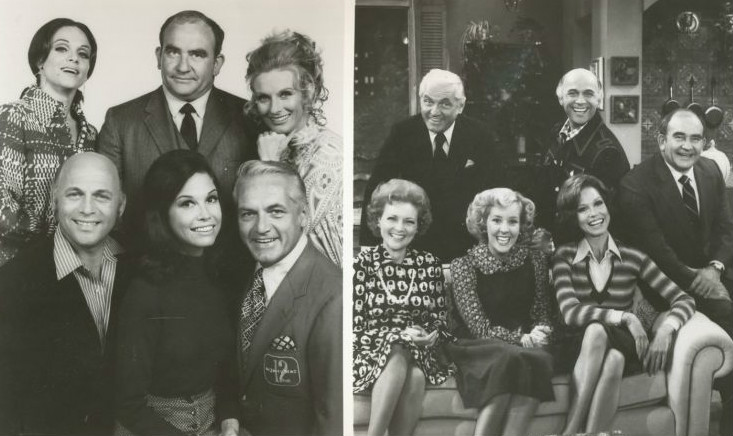 Mary Tyler Moore Show: left 1970 Cast, right 1977 Cast