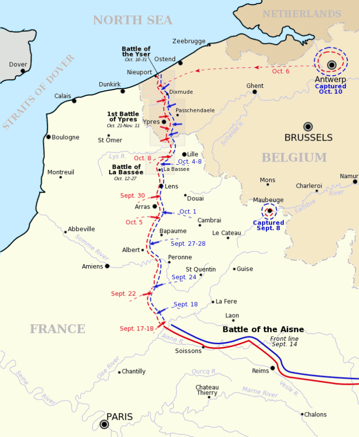 Map showing the outflanking attempts
