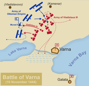 Map of Battle of Varna