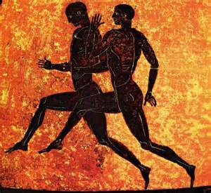 Ancient Olympic Athletes - Vase detail